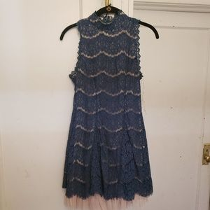 Trixxi Clothing Company Teal Lace Skater Dress